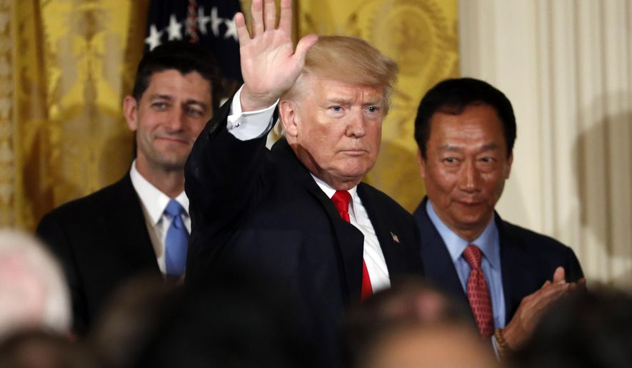 "FILE - In this July 26, 2017 file photo, President Donald Trump, waves as he departs with House Speaker Paul Ryan of Wis., left, and Terry Gou, president and chief executive officer of Foxconn, after an event in the East Room of the White House in Washington. The ceremonial groundbreaking for a massive $10 billion Foxconn factory complex in Wisconsin was supposed to be evidence that the manufacturing revival fueled by President Donald Trump's ""America First"" policy is well underway. But an announcement this week by Harley-Davidson that it is moving some production of motorcycles overseas to avoid tariffs is fueling unease among voters in Wisconsin _ a state Trump barely won and where fellow Republican Gov. Scott Walker is on the ballot. (AP Photo/Alex Brandon)"