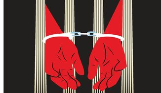 Illustration on leniency on drug offences by Linas Garsys/The Washington Times