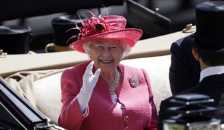 In this Thursday, June 21, 2018, file photo, Britain's Queen Elizabeth II arrives on the third day of the Royal Ascot horse race meeting, which is traditionally known as Ladies Day, in Ascot, England Thursday. (AP Photo/Tim Ireland. File)