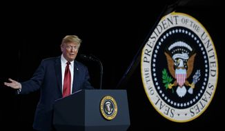 President Donald Trump speaks after a tour of a Foxconn facility, Thursday, June 28, 2018, in Mt. Pleasant, Wis. (AP Photo/Evan Vucci)