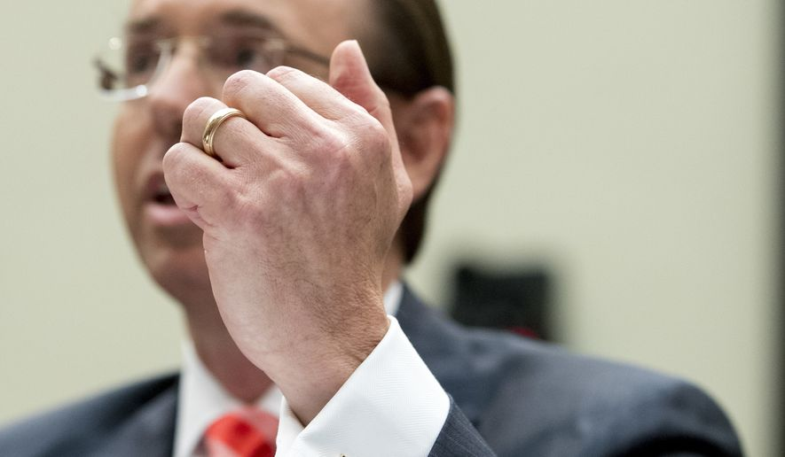 Deputy Attorney General Rod Rosenstein testifies before a House Judiciary Committee hearing on Capitol Hill in Washington, Thursday, June 28, 2018, on Justice Department and FBI actions around the 2016 presidential election. (AP Photo/Andrew Harnik)