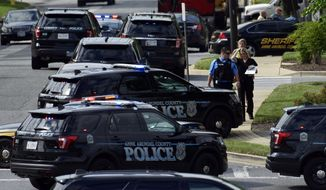 Police secure the scene of a shooting at the building housing The Capital Gazette newspaper in Annapolis, Md., Thursday, June 28, 2018. (AP Photo/Susan Walsh)