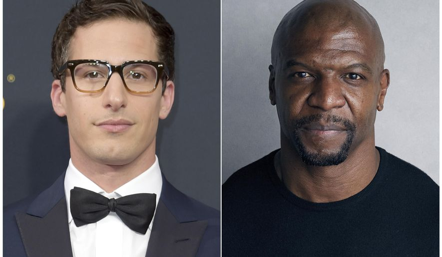 """This combination photo shows Andy Samberg at the 68th Primetime Emmy Awards in Los Angeles on Sept. 18, 2016, left, and Terry Crews during the Sundance Film Festival in Park City, Utah on  Jan. 21, 2018. Samberg and others on """"Brooklyn Nine-Nine"""" stand with fellow cast member Terry Crews after Crews testified about an alleged groping Tuesday in Washington before the Senate Judiciary Committee.  (AP Photo)"""