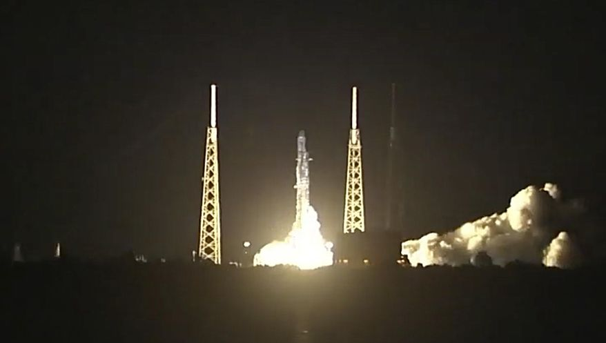 In this image made from video, the Falcon 9 rocket carrying the SpaceX CRS-15 Dragon launches from Cape Canaveral, Florida, to the international space station, Friday, June 29, 2018. (NASA via AP)