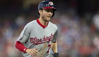 Washington Nationals' Trea Turner (7) in action during a baseball game against the Philadelphia Phillies, Friday, June 29, 2018, in Philadelphia. (AP Photo/Laurence Kesterson)