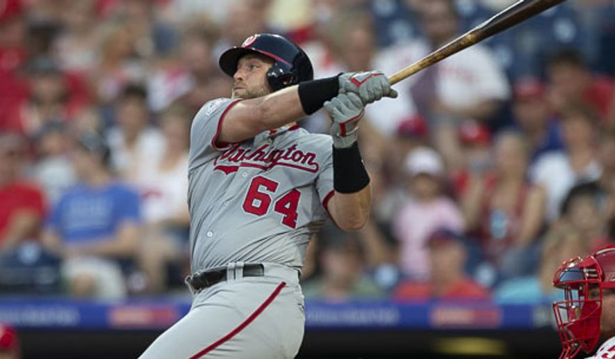 Washington Nationals' Spencer Kieboom (64) in action during a baseball game against the Philadelphia Phillies, Friday, June 29, 2018, in Philadelphia. (AP Photo/Laurence Kesterson)