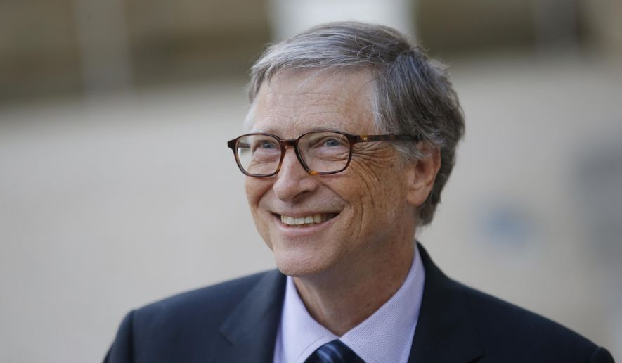 In this April 16, 2018, file photo, Bill Gates, co-chair of the Bill & Melinda Gates Foundation, talks to the media after a meeting with French President Emmanuel Macron at the Elysee Palace in Paris. (AP Photo/Michel Euler, File)