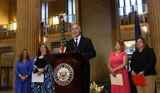 "Sen. Bob Casey's campaign spokesman said that Mr. Casey ""is opposed to [the] Roe [v. Wade ruling],"" and wants to ""reduce the number of unwanted pregnancies."" (Pa.) holds a press conference along with local immigration activists at the 30th St. Station in Philadelphia to demand that the Trump administration produce a plan to reunite families who have been separated at the border on Monday, June 25, 2018. (Heather Khalifa/The Philadelphia Inquirer via AP)"