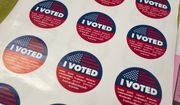 """I Voted"" stickers wait for voters at a polling station inside the library at Robert F. Kennedy Elementary School in Los Angeles on Tuesday, June 5, 2018.   Voters are casting ballots in California's primary election, setting the stage for November races. (AP Photo/Richard Vogel)"