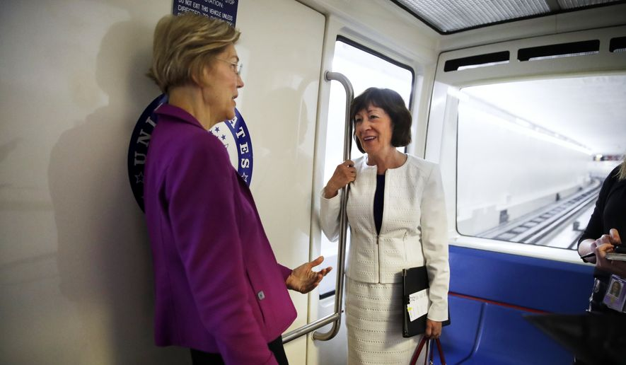 """Sen. Susan M. Collins, Maine Republican (right), who is known for her bipartisanship, chatted with Sen. Elizabeth Warren, Massachusetts Democrat on the Senate subway. She says she wants a Supreme Court nominee who would """"respect precedent."""" (Associated Press/File)"""