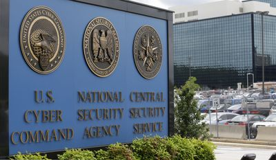 In this June 6, 2013 file photo, a sign stands outside the National Security Agency (NSA) campus in Fort Meade, Md. (AP Photo/Patrick Semansky, File)