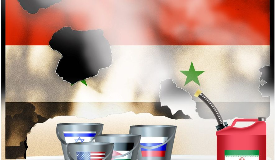 Illustration on the ending moves of the Syrian civil war by Alexander Hunter/The Washington Times