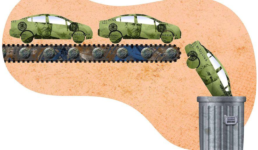 Sedan Crash Illustration by Greg Groesch/The Washington Times
