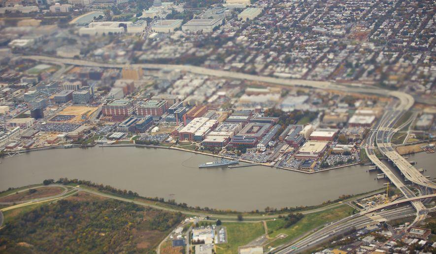 The Naval Yard Complex along the Anacostia River in Washington D.C. (AP Photo/Pablo Martinez Monsivais)