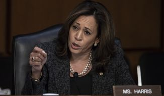 Sen. Kamala Harris, D-Calif., questions Gina Haspel, President Donald Trump's pick to lead the Central Intelligence Agency, during her confirmation hearing before the Senate Intelligence Committee, on Capitol Hill in Washington, Wednesday, May 9, 2018.  (AP Photo/J. Scott Applewhite)