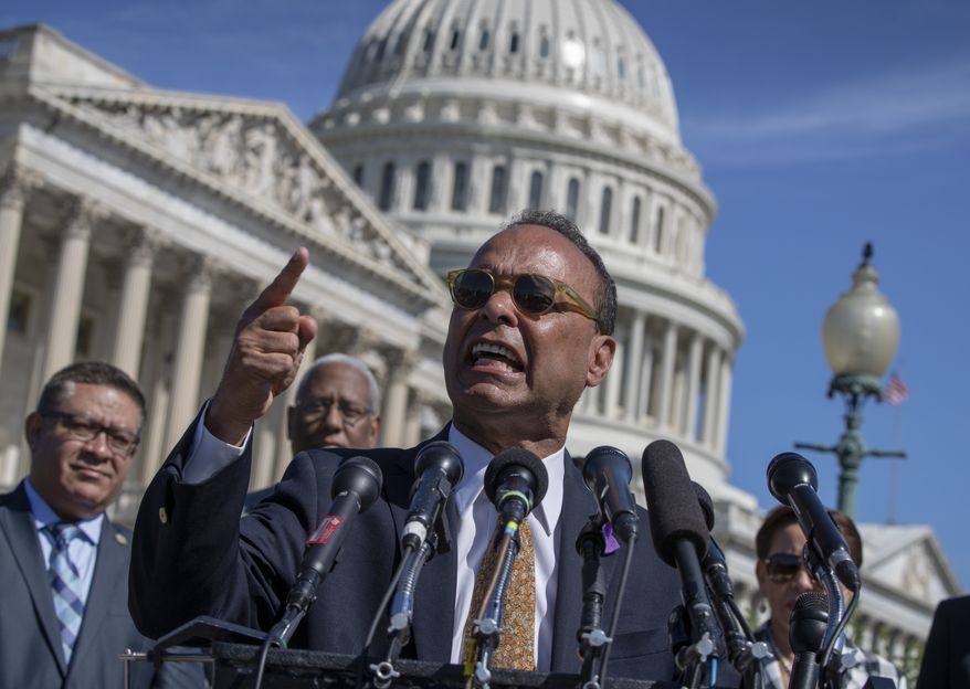 """Rep. Luis Gutierrez, D-Ill., a leading advocate in the House for immigration reform, joins supporters of """"dreamers"""" as they mark the 6th anniversary of the announcement of the Deferred Action for Childhood Arrivals (DACA) program, on Capitol Hill in Washington, Friday, June 15, 2018. (AP Photo/J. Scott Applewhite) ** FILE **"""