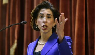 Rhode Island Democratic Gov. Gina Raimondo delivers her State of the State address to lawmakers and guests in the House Chamber at the Statehouse, Tuesday, Jan. 17, 2017, in Providence, R.I. (AP Photo/Steven Senne)