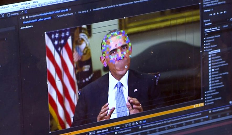 This image made from video of a fake video featuring former President Barack Obama shows elements of facial mapping used in new technology that lets anyone make videos of real people appearing to say things they've never said. There is rising concern that U.S. adversaries will use new technology to make authentic-looking videos to influence political campaigns or jeopardize national security. (AP Photo) **FILE**