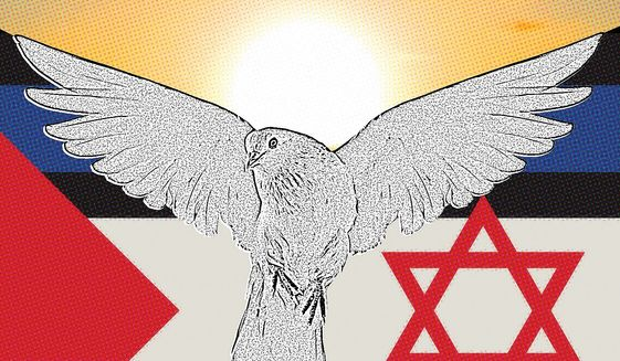 Illustration on Israeli/Palestinian amity by Linas Garsys/The Washington Times