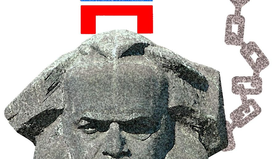Illustration on negative results to Democrats from connecting to socialism by Alexander Hunter/The Washington Times