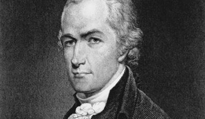 This is an undated photo of an etching of Alexander Hamilton.  Hamilton fought in the Revolutionary War and he became one of six aides-de-camp, secretaries, in 1777 and  became the first  Secretary of the Treasury in 1789.  As a member of Congress he played a key role in the ratification of the U.S. Constitution and was the only New York delegate to sign the document.  He died in 1804 in a duel with Aaron Burr.  (AP Photo)