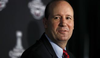 Washington Capitals' new NHL hockey head coach Todd Reirden speaks during an introductory news conference in Arlington, Va., Tuesday, July 3, 2018, at Kettler Capitals Iceplex. (AP Photo/Jacquelyn Martin)