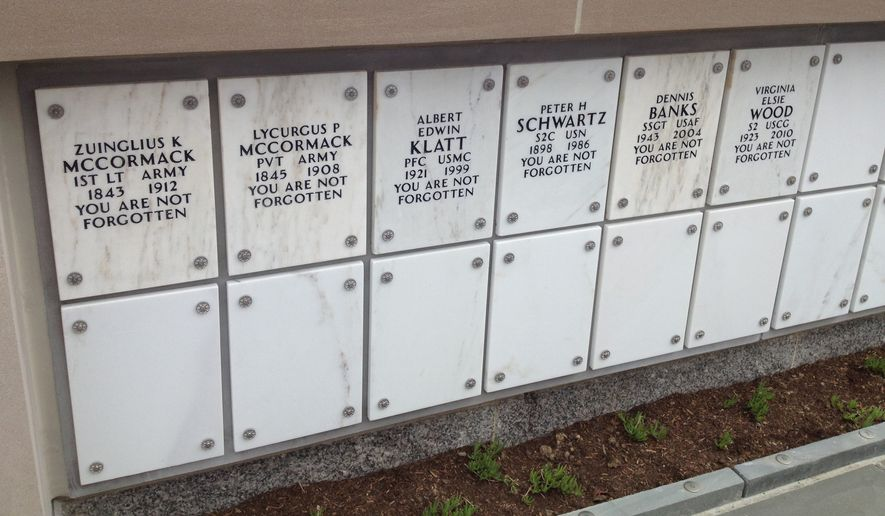 The columbarium at Arlington National Cemetery is the final resting place of the McCormack brothers, Civil War veterans whose cremains were discovered in Indiana in 2013. (Photo courtesy of the Missing in America Project)