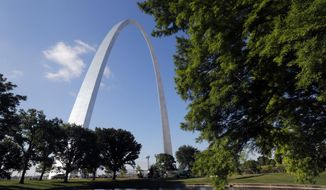 FILE - In this June 21, 2018, file photo, the Gateway Arch is seen in St. Louis. A newly expanded museum underneath the Arch is set to be open on July 3 and is the final piece of a massive $380 million renovation of the grounds surrounding and entrance to the iconic monument. (AP Photo/Jeff Roberson) ** FILE **