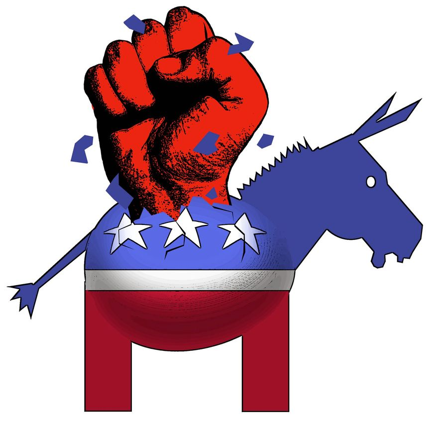Illustration on the violence emerging from the Democratic party by Alexander Hunter/The Washington Times