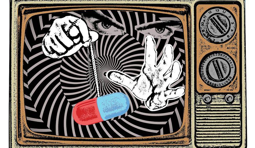 Illustration on PhRMA's media influence by Linas Garsys/The Washington Times