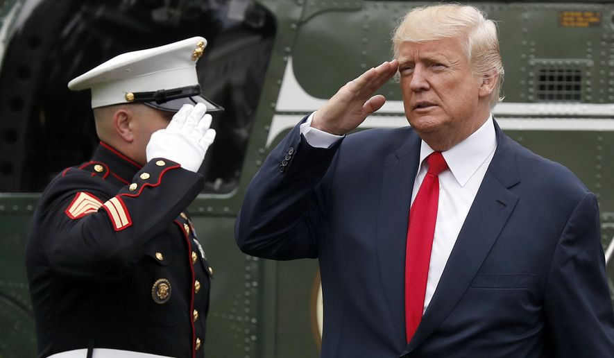 President Donald Trump salutes as he steps off Marine One on the South Lawn of the White House in Washington, Monday, Aug. 14, 2017. Trump is returning from a vacation to Bedminster, N.J. (AP Photo/Alex Brandon)