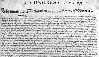 This close up of the U.S. Declaration of Independence. The image is taken from the engraving made by printer William J. Stone for the department of state on July 4, 1823.  (AP Photo/Library of Congress)