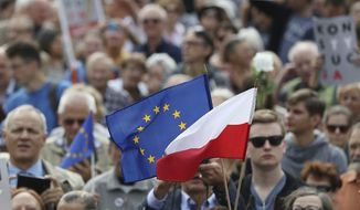 Protesters hold up a European and a Polish flag as they gather in front of Poland's Supreme Court building in Warsaw, Poland, Wednesday, July 4, 2018 to support the court's president, Malgorzata Gersdorf, as she arrived for work, saying she was defending the rule of law, in defiance of a new law that is forcing her and many other of the court's judges to retire while their terms are still running. (AP Photo/Czarek Sokolowski)