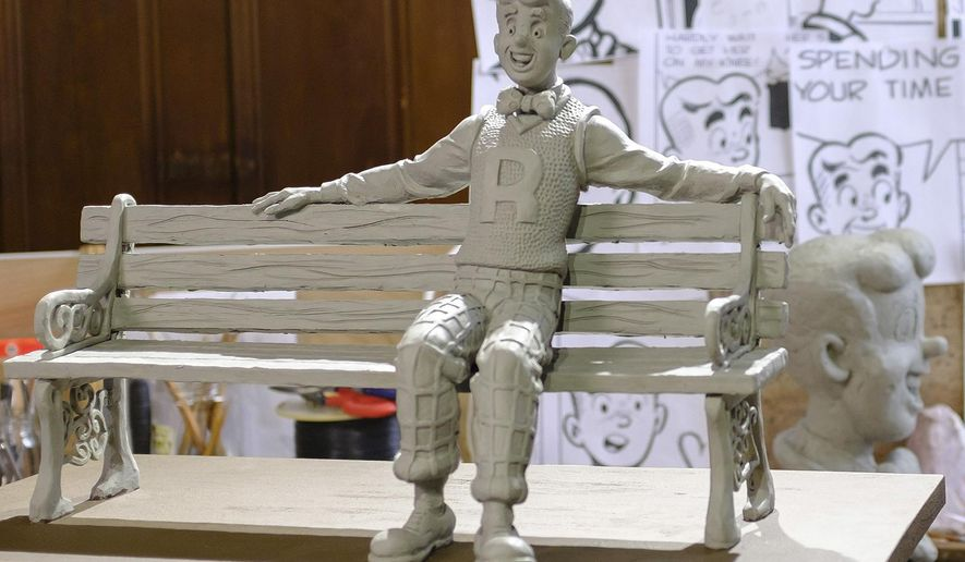 "In this April 19, 2017 photo provided by Morgan Karanasios, a clay model for Valery Mahuchy's bronze statue of the comic book character ""Archie"" is displayed the sculptor's studio in Bethlehem, N.H. Bob Montana, who was the first to draw original depictions of the ""Archie"" characters, lived in Meredith, N.H., for 35 years until his death in 1975. The life-sized bronze statue of ""Archie"" is scheduled to be installed Aug. 9, 2018, in Meredith's Community Park to coincide with the town's 250th anniversary. (Morgan Karanasios via AP)"