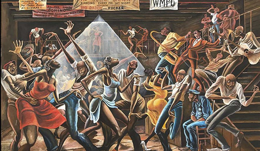 "This photo made available by the Ernie Barnes Family Trust shows the painting titled ""Sugar Shack,"" created by Ernie Barnes in 1976. The state history museum in North Carolina is opening an exhibit of works by Barnes, an African-American athlete and artist whose best-known painting was ""Sugar Shack,"" which was the cover of a Marvin Gaye album and also appeared in the closing credits of the sitcom ""Good Times."" (Ernie Barnes Family Trust via AP)"