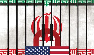 Illustration on pressuring Iran by Alexander Hunter/The Washington Times