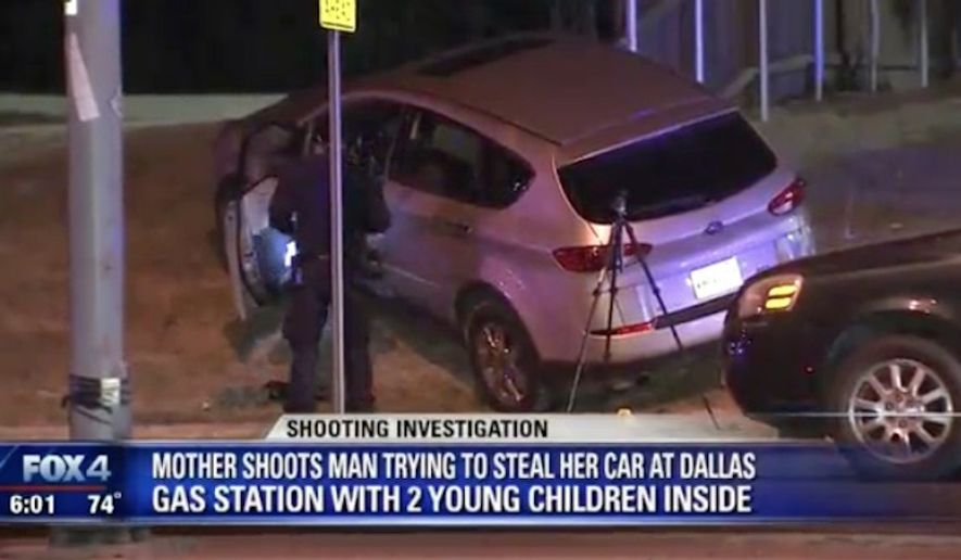 A pistol-packing Dallas mother sprang into action Wednesday night after a man attempted to steal her car with her two young children still inside. (FOX 4)