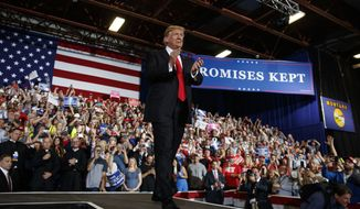 President Donald Trump arrives to speak during a rally at the Four Seasons Arena at Montana ExpoPark, Thursday, July 5, 2018, in Great Falls, Mont. (AP Photo/Carolyn Kaster)