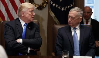 "President Trump said of Defense Secretary James Mattis, ""I have a very good relationship with him. Gen. Mattis is a good guy. We get along very well."" (Associated Press/File)"