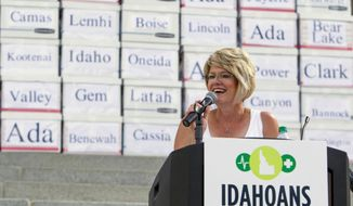 State lawmaker Rep. Christy Perry, R-Nampa, who has been an advocate of the Medicaid expansion initiative, speaks in Boise, Idaho, Friday, July 6, 2018, to a group of volunteers who gathered over 70,000 voter signatures to place the measure on this November's ballot. (Darin Oswald/Idaho Statesman via AP)