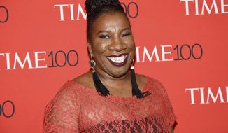 FILE - In this April 24, 2018 file photo, social activist Tarana Burke, founder of the #MeToo movement, attends the Time 100 Gala celebrating the 100 most influential people in the world in New York. Burke, who toiled in obscurity for years, has had a head-spinning nine months since the day last October, shortly after the Harvey Weinstein sexual abuse accusations, when actress Alyssa Milano encouraged survivors to tweet #MeToo. (Photo by Evan Agostini/Invision/AP, File)