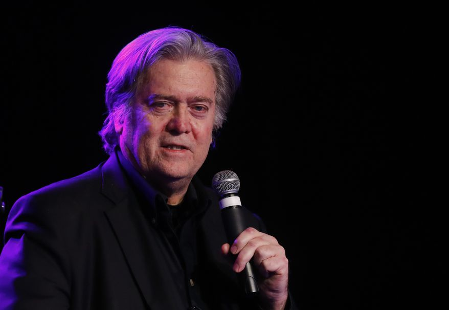 Steve Bannon, the former chief strategist to President Donald Trump, speaks at the Macomb County Republican Party dinner in Warren, Mich., Wednesday, Nov. 8, 2017. (Associated Press)