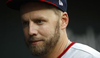 Washington Nationals' Mark Reynolds walks in the dugout before an interleague baseball game against the Baltimore Orioles, Tuesday, May 29, 2018, in Baltimore. (AP Photo/Patrick Semansky)