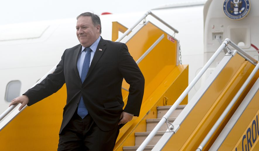 U.S. Secretary of State Mike Pompeo arrives at Nom Bar International Airport in Hanoi, Vietnam, Sunday, July 8, 2018. Pompeo is on a trip traveling to North Korea, Japan, Vietnam, Abu Dhabi, and Brussels. (AP Photo/Andrew Harnik, Pool)