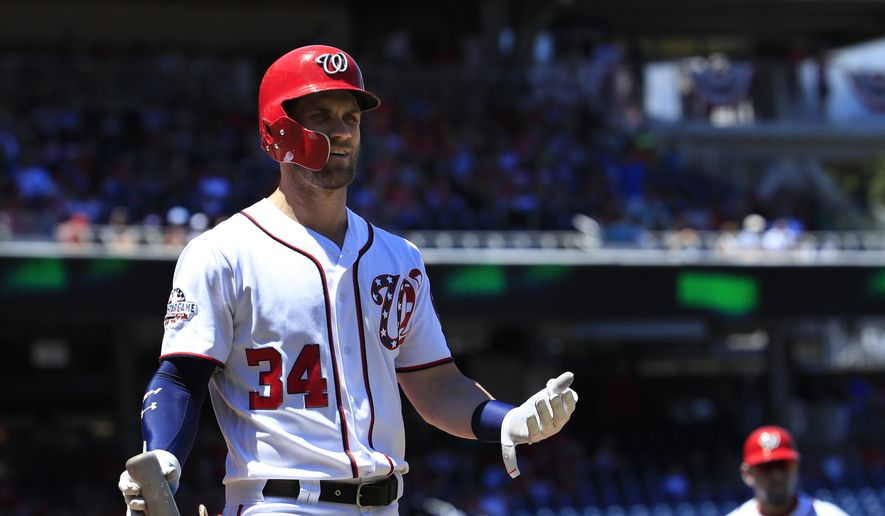 Washington Nationals Bryce Harper (34) gestures after being called out by the home plate umpire during the first inning of a baseball game against the Miami Marlins in Washington, Sunday, July 8, 2018. (AP Photo/Manuel Balce Ceneta) **FILE**