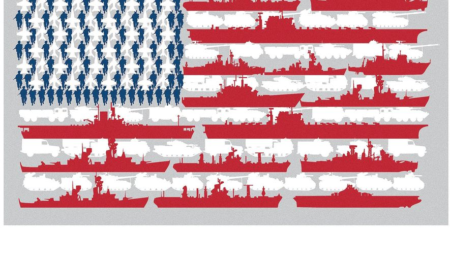 Illustration on military systems rediness by Linas Garsys/The Washington Times