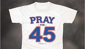 """The Rev. Franklin Graham created the """"Pray for 45"""" T-shirt in response to a Walmart shirt calling for President Trump's impeachment. (Franklin Graham)"""