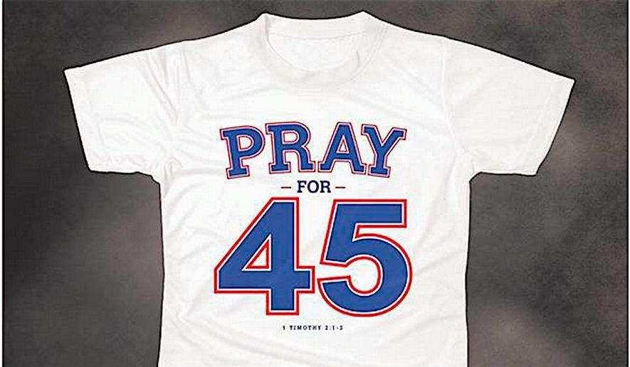 "The Rev. Franklin Graham created the ""Pray for 45"" T-shirt in response to a Walmart shirt calling for President Trump's impeachment. (Franklin Graham)"