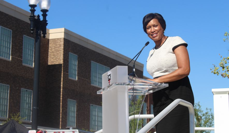 Washington, D.C. Mayor Muriel Bowser speaks at the ribbon-cutting ceremony for Audi Field, the new stadium in Washington for Major League Soccer club D.C. United, on Monday, July 9, 2018. (Photo by Adam Zielonka / The Washington Times) ** FILE **