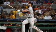 Washington Nationals' Bryce Harper hits a solo home run off Pittsburgh Pirates starting pitcher Ivan Nova in the sixth inning of a baseball game in Pittsburgh, Monday, July 9, 2018. (AP Photo/Gene J. Puskar) **FILE**